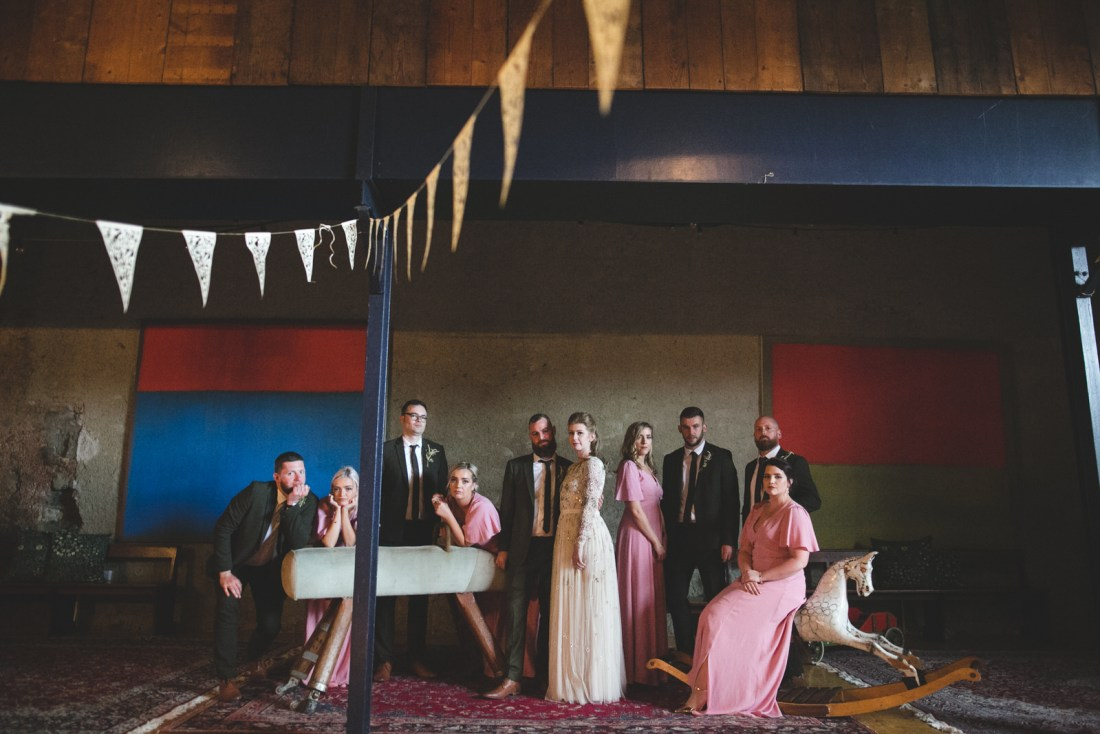 Old fashion styled bridal party portrait at Mount Druid