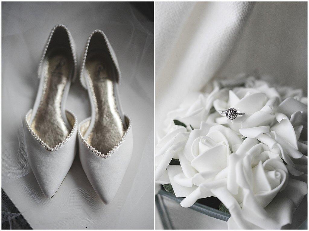 White flat wedding shoes & silver diamond engagement ring