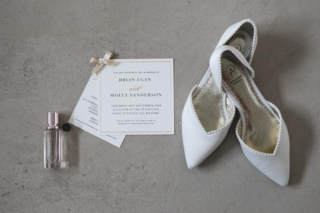 Wedding Stationary Flatlay with Shoes & Perfume