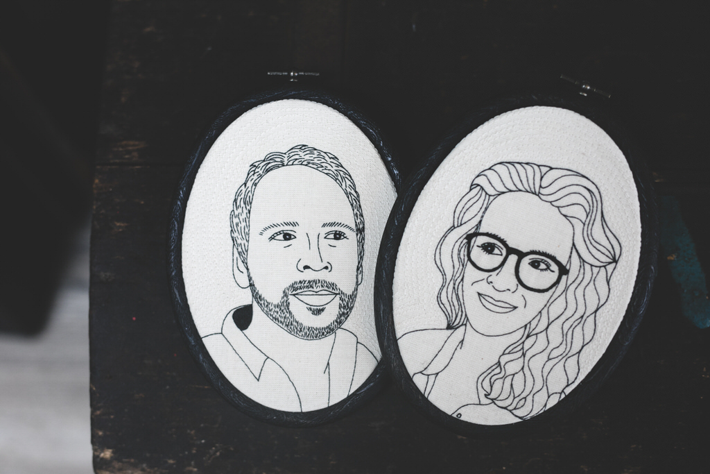 Custom embroidered portraits as a wedding present