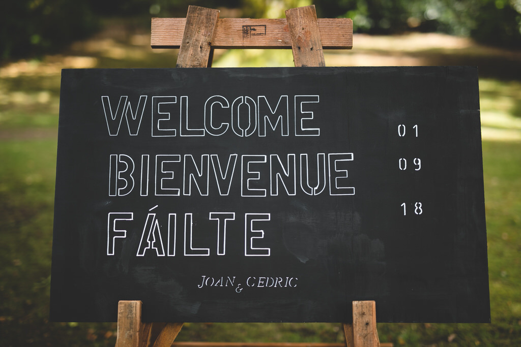 Chalkboard welcome sign for the wedding ceremony