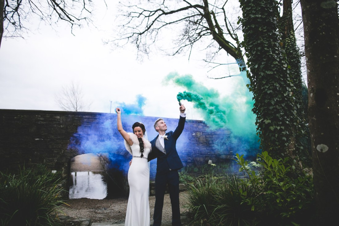 Green and blue smoke bombs in Clonabreany House