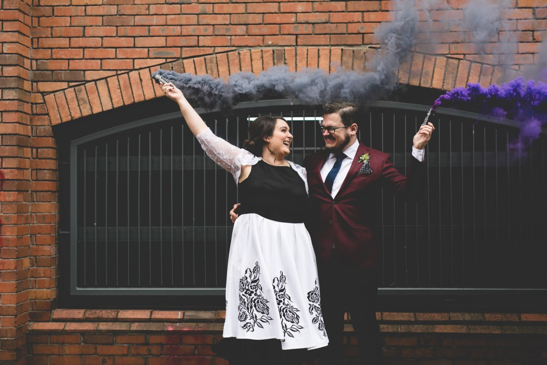 Black & purple smoke bomb portraits at the chocolate factory Dublin