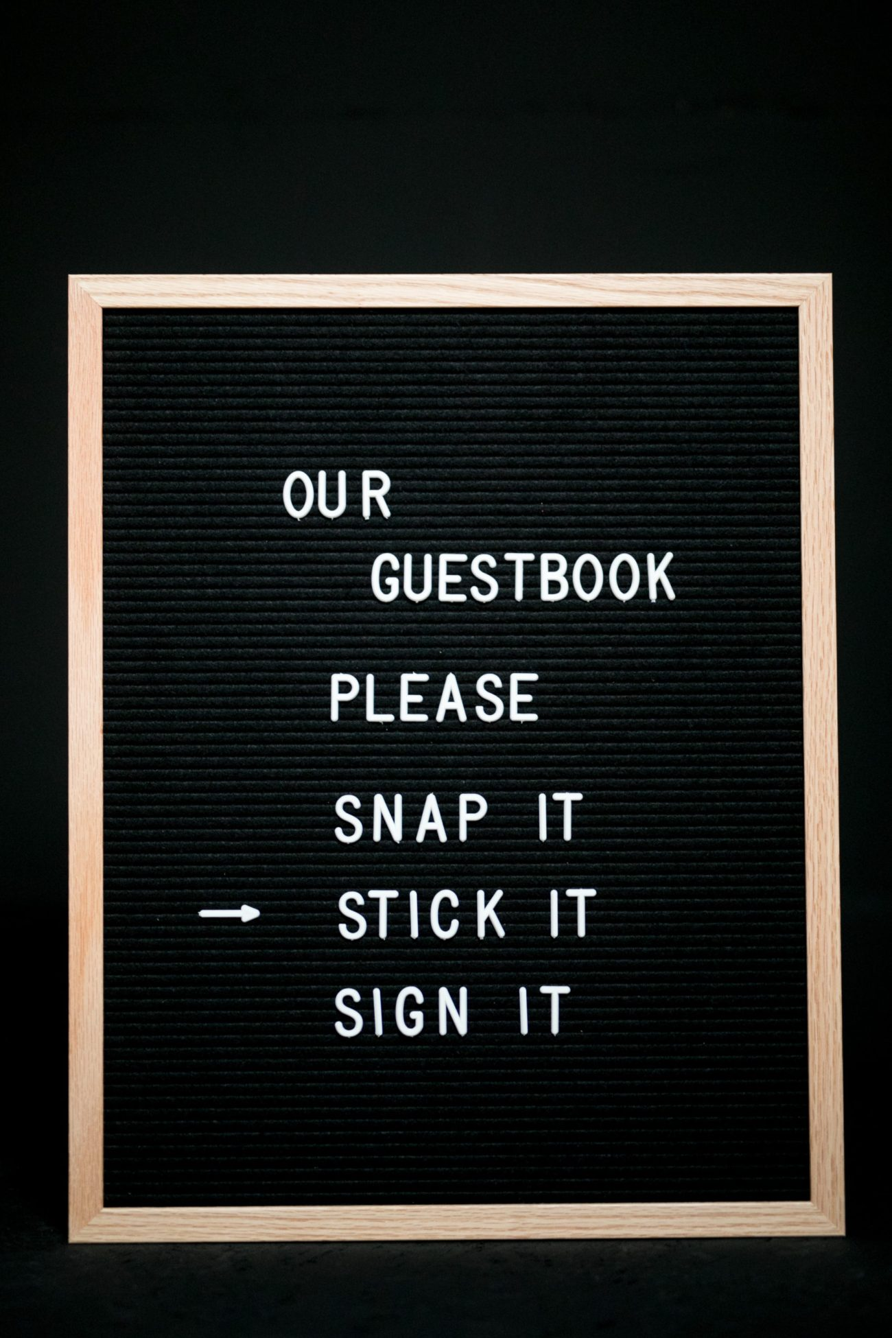 Large felt letter board by Letterfolk part of a polaroid guest book bundle