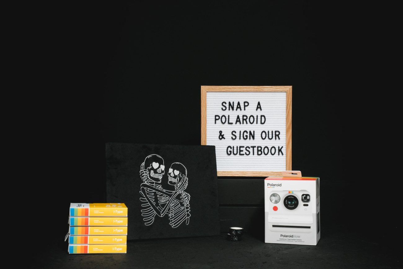 Polaroid Guest Book Bundle with a camera, film, letter board, pens & tape