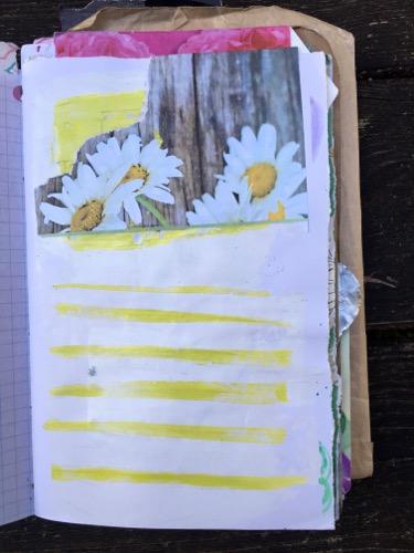 Torn magazine, school grade watercolor