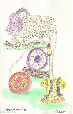Sketch of my favorite float from the Flower Festival -- featuring a sheep, making wool yarn, made into a sweater and hat