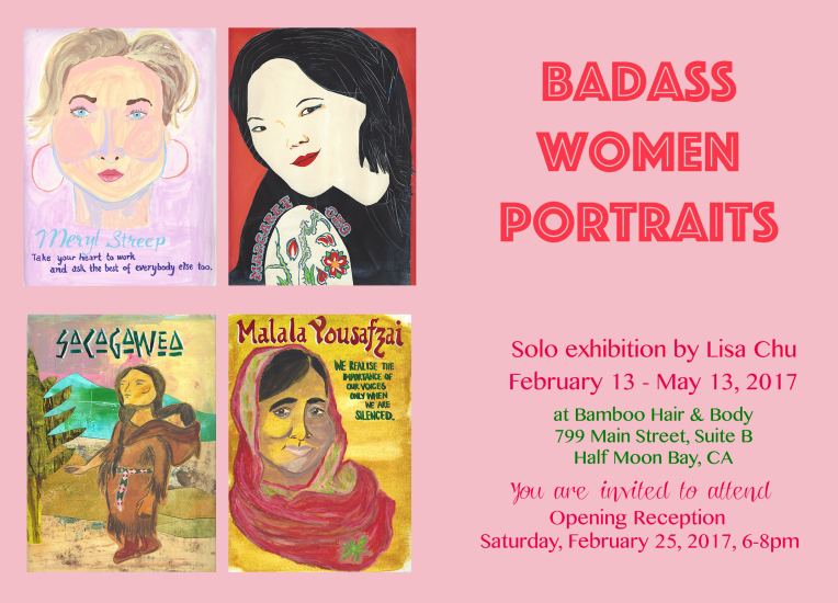 Badass Women Portraits opening reception invitation