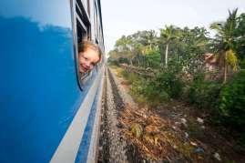 girl rides train Sri Lanka