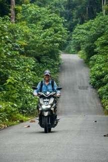 We hire a scooter to explore Maratua Island