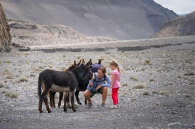 Maya and Catherine getting close to some mountain donkeys