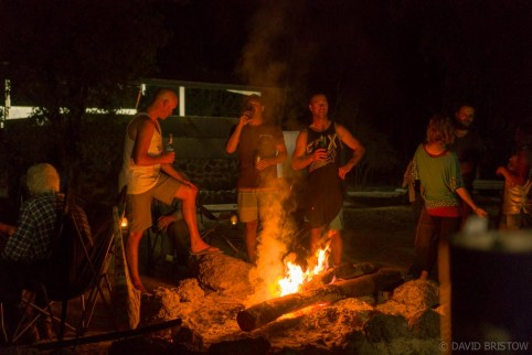 grab a hot shower and a couple of cold drinks and make a beeline for the camp's communal fire