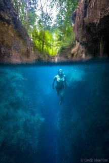 Swimming the crystal clear caves, Maratua.