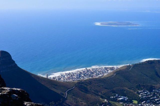 The South African coastlines as seen from the Table Mountain