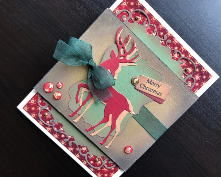 hand made Shabby chic Christmas card with die cut reindeer