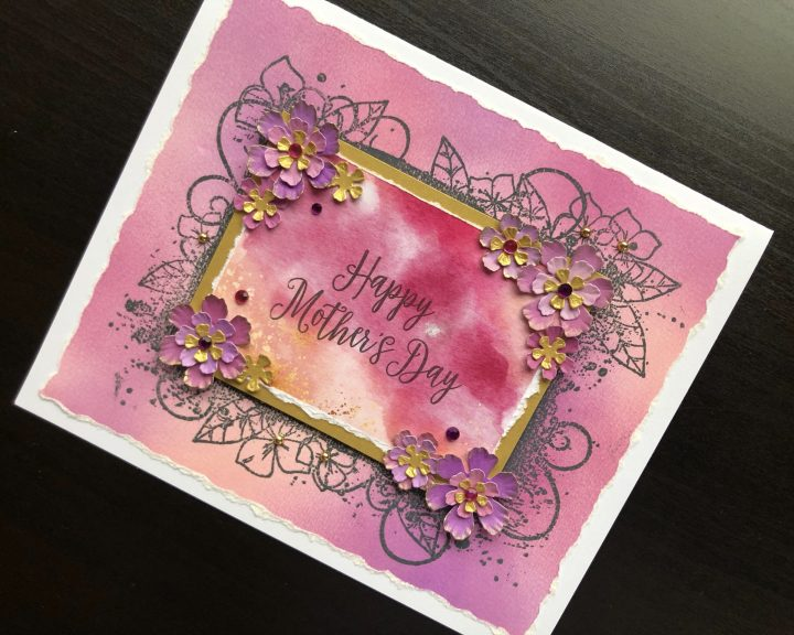 Hand made Mothers Day card with inked background and die cut flowers