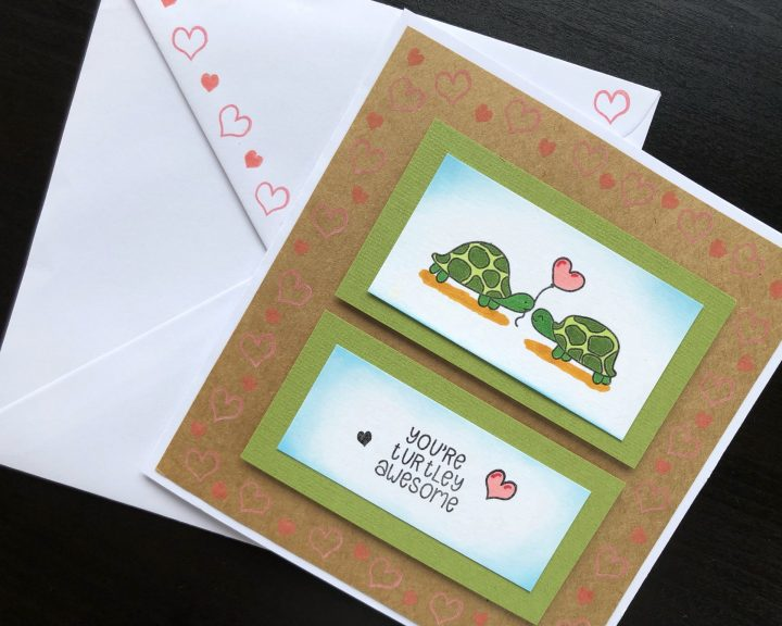 Hand made anniversary card with stamped turtles