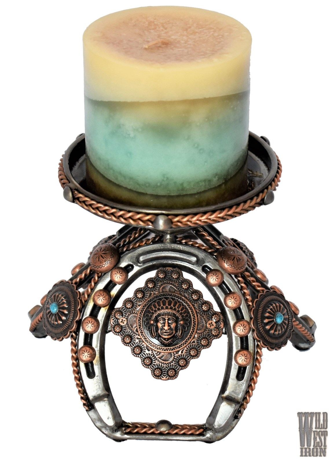 Copper and Horseshoe Candle Holder View One