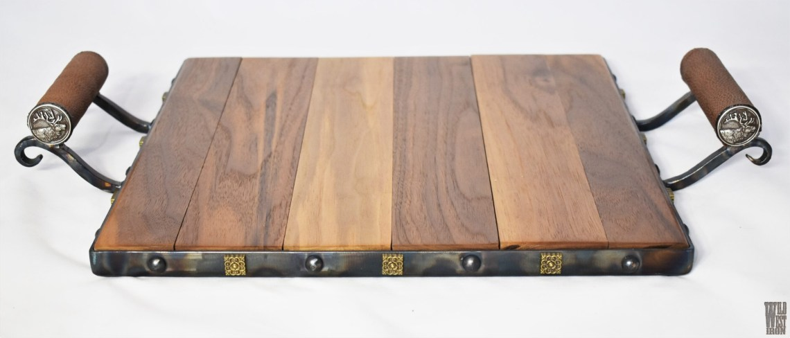 Elk Serving Tray with Leather Handles