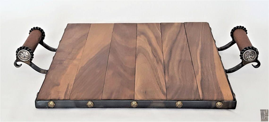 Pheasant & Deer Serving Tray with Leather Handles
