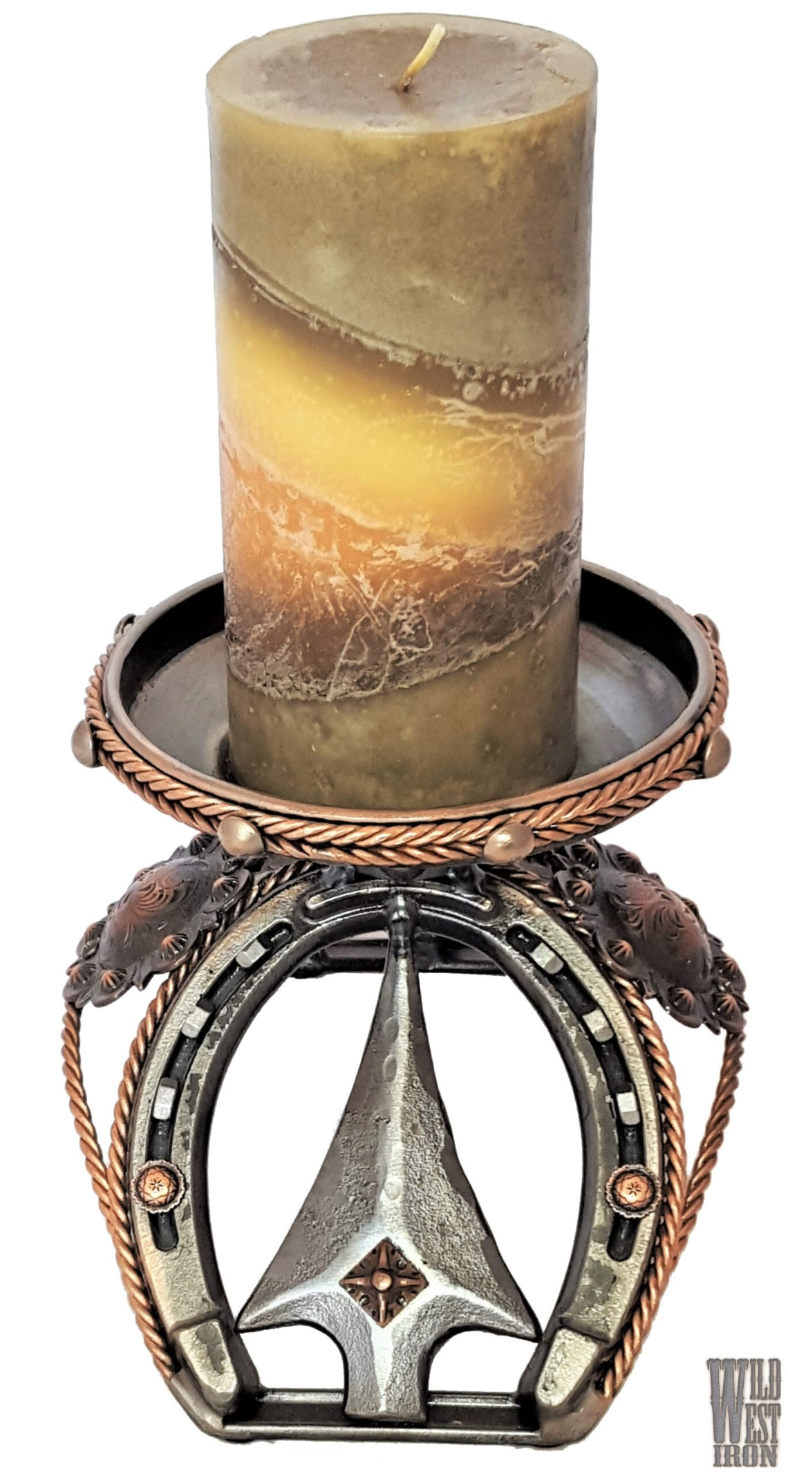 Arrowhead and Copper Candle Holder View Two
