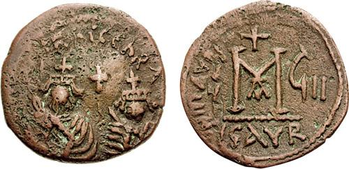 Copper-alloy follis of Emperors Heraclius and Heraclius Constantine struck at Isaura in 617-618, CNG Classical Auctions, Triton VIII Sale, 10th January 2005, lot 1368