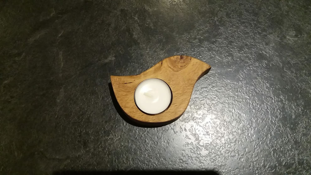 Solid Oak Chicken Shaped Single Candle Egg Cup