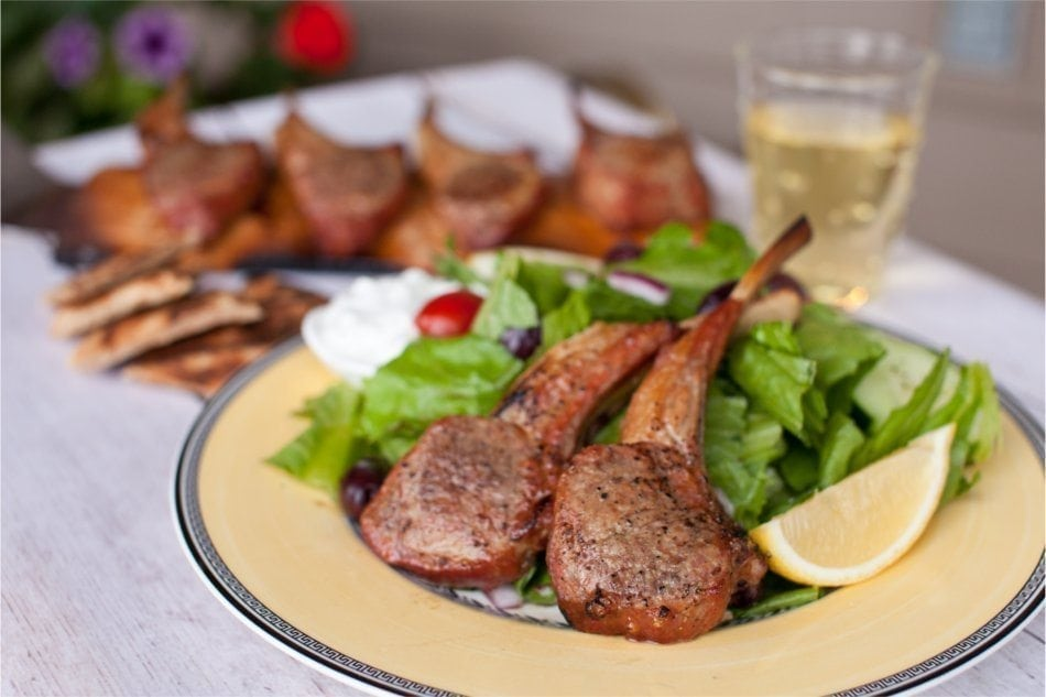 Greek Grilled Lamb Chops With Tomato, Cucumber & Kalamata ...