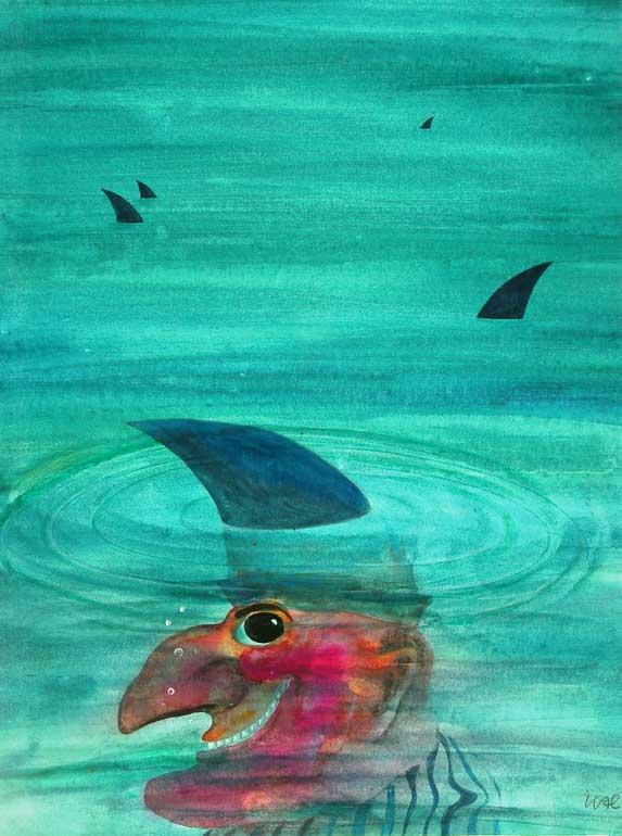 Ohne Titel, 1976, Aquarell, Tusche/Pinsel, Bleistift auf Karton, 35,1 x 26,1 cm