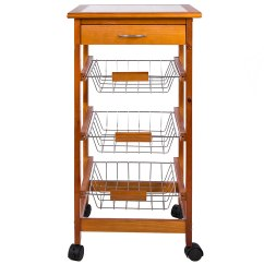Kitchen Trolley Kidkraft Modern Country 53222 Chef Vida 3 Tier Wooden Brown Wilko Image 2