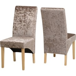 Crushed Velvet Chair Anti Gravity Pool G1 Set Of 2 Mink Dining Chairs Wilko Image 1
