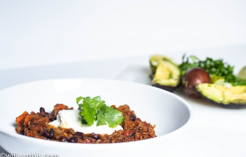 Chipotle Chili topped with yogurt and cilantro
