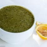 A bowl of broccoli apple soup