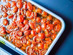Slow roasted tomato on a tray