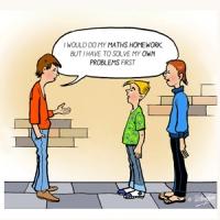 Digital - funny cartoon of three teenagers talking