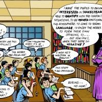 Digital - funny cartoon of kids in a class