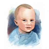 Watercolour portrait of a little boy