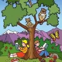 Digital - children under a tree