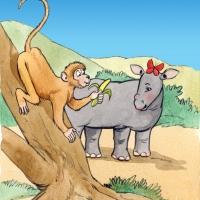 Watercolour - rhino and baboon