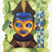 Acrylic - Ndebele wedding portrait in blue