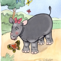 Watercolour - rhino calf and butterfly