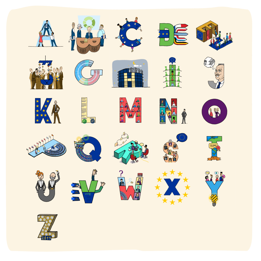 Eu alphabet: 26 drawings (one for each of every letter of the alphabet) to show and tell about the working and history of the European Parliament.