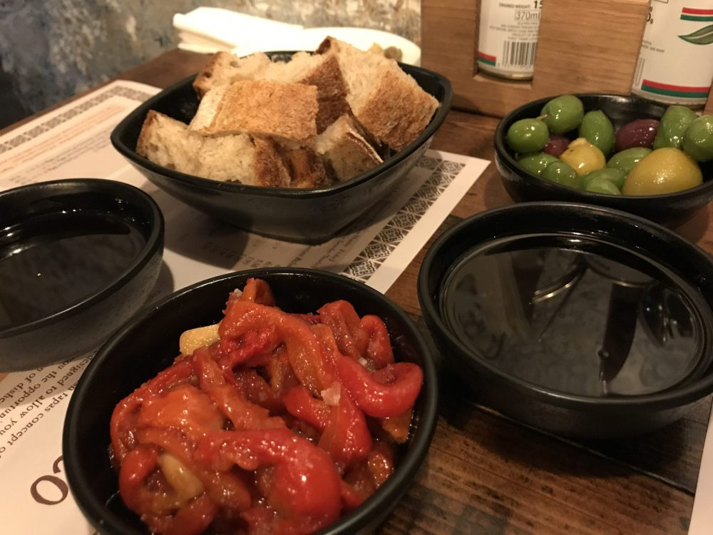 olives, peppers and sourdough