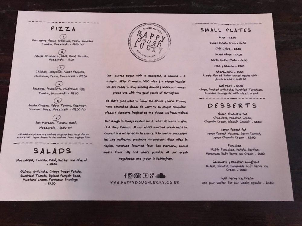 Happy Dough Lucky menu