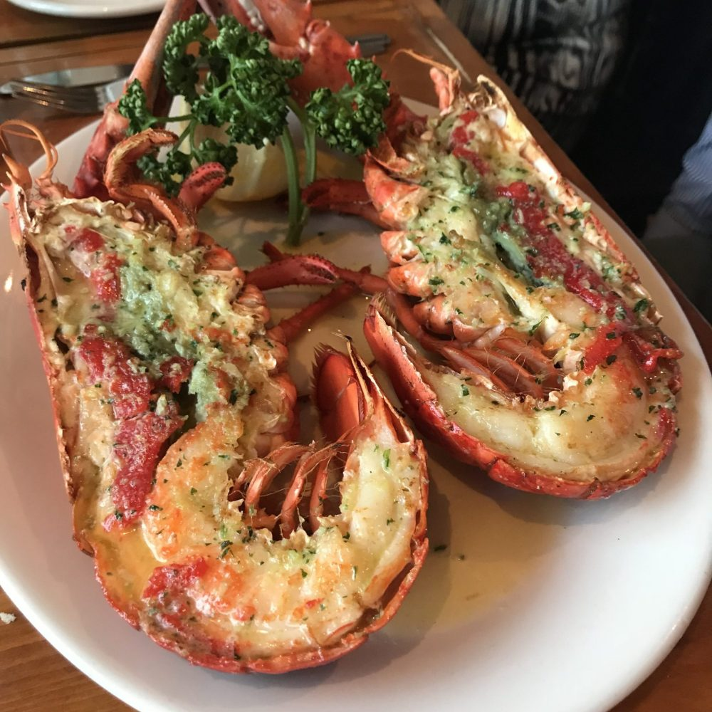Grilled whole lobster