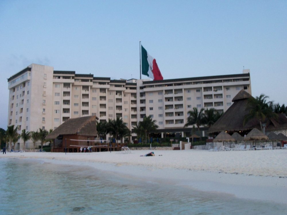 picture of the hotel from the beach