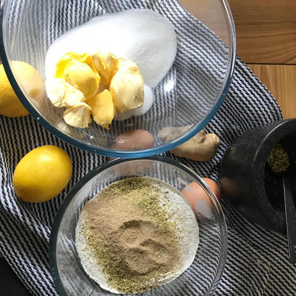 Lemon, Ginger & Pistachio Loaf ingredients