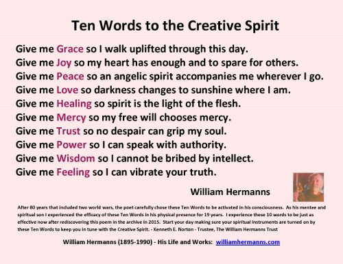 Ten Words to the Creative Spirit by William Hermanns