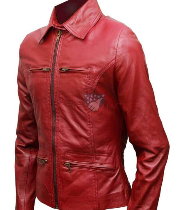 Emma Swan Red Leather Jacket - Once Upon a Time film leather Jacket