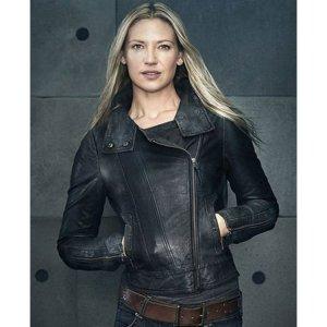 Olivia Dunham Fringe Black Biker Jacket